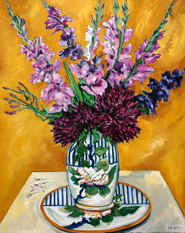 Still life with pink gladiolas